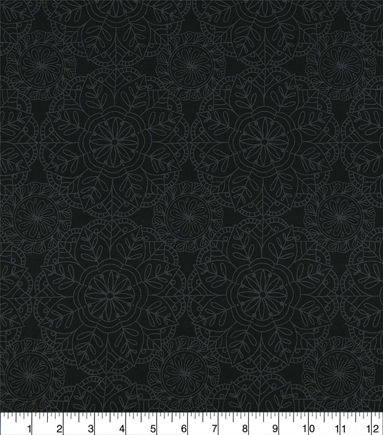 Wide Prints Cotton Fabric 108\u0022-Mandala Black