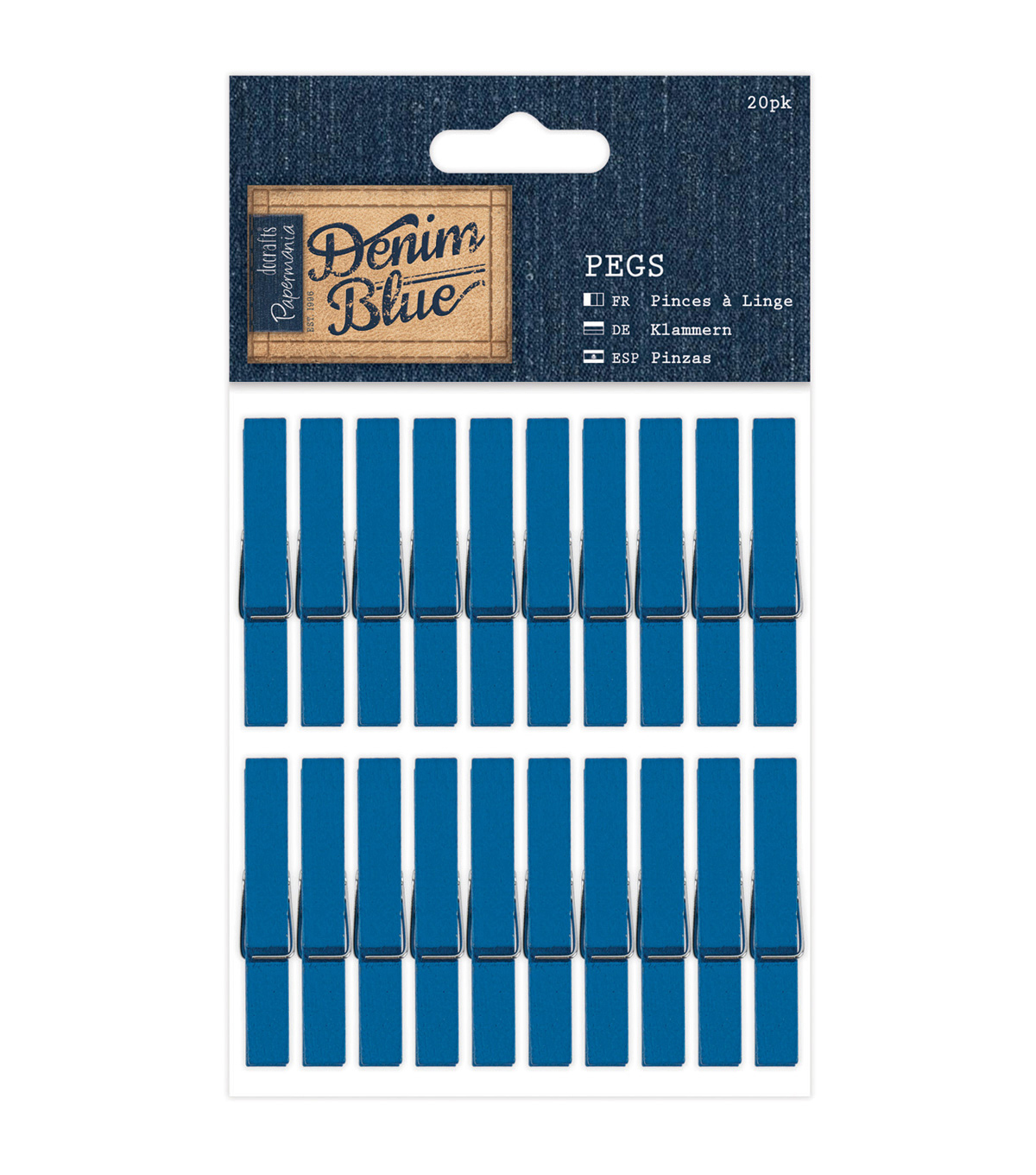Papermania Denim Blue 20ct Pegs