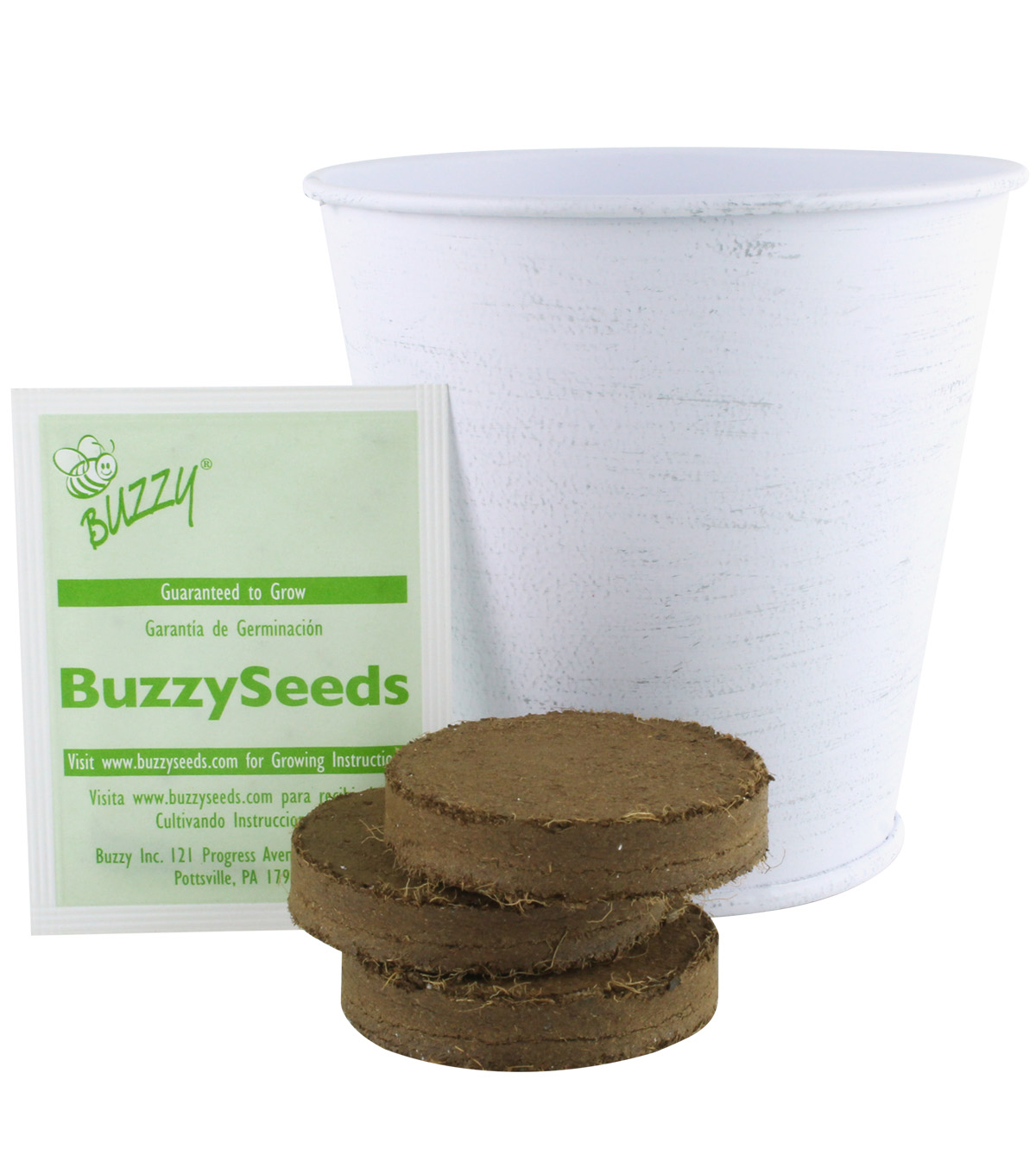 Buzzy Zinnia DIY Grow Kit with Whitewashed Metal Pail