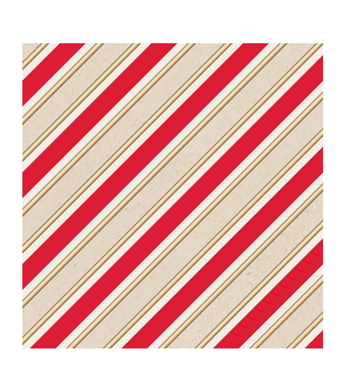 American Crafts Kraft Gift Wrap 30\u0022X10ft-Stripes-Gold Foil