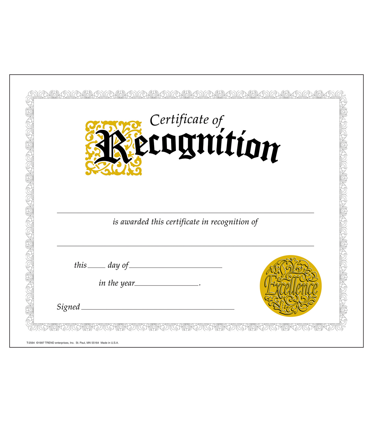 TREND enterprises, Inc. Recognition Certificates, 30 Per Pack, 6 Packs