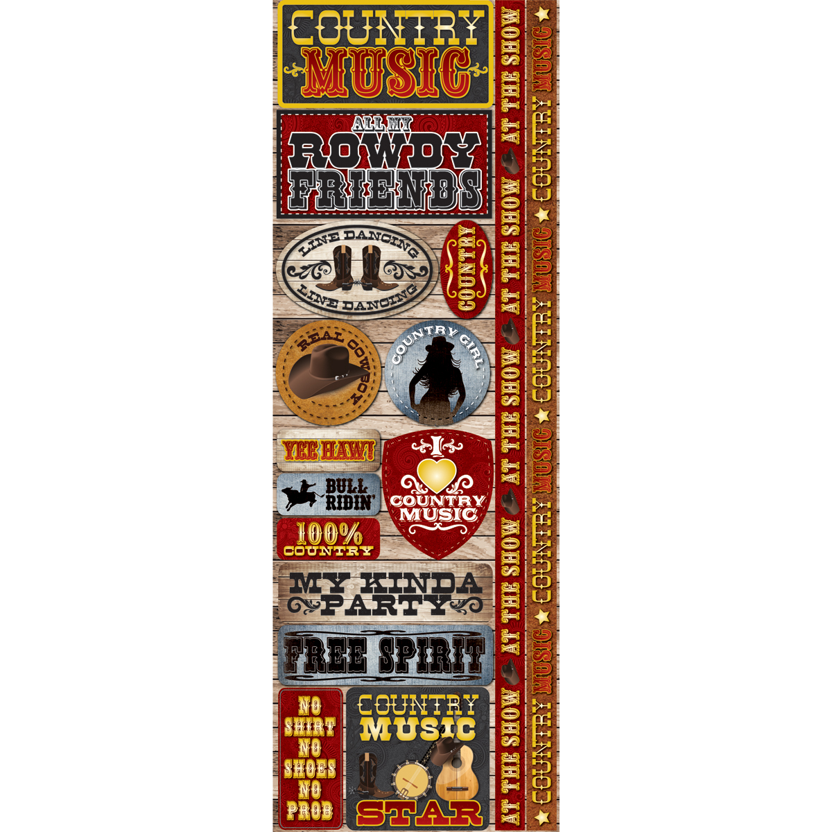 Reminisce Signature Series 2012 Cardstock Combo Stickers Country Music