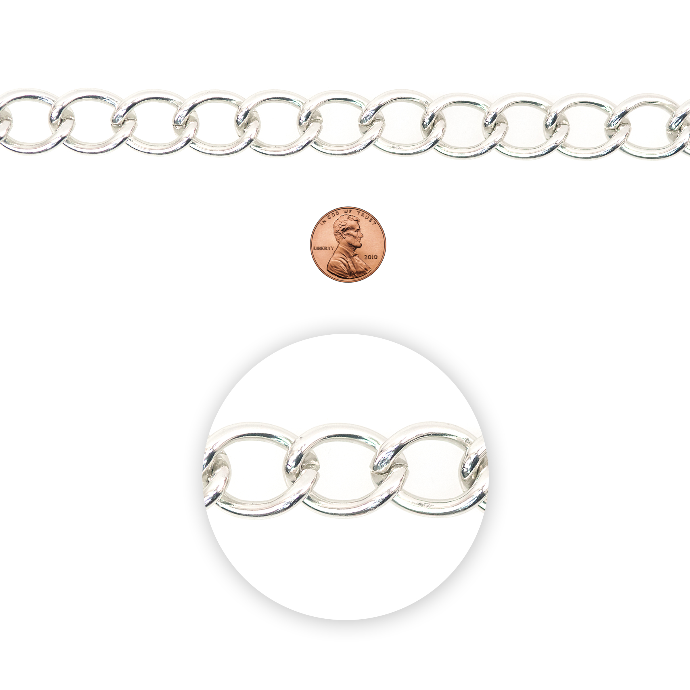Blue Moon Beads Chain, Curb Link, Large, Silver