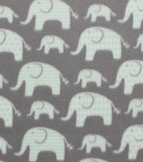 Nursery Fleece Fabric 55 U0027 Pink In Line Elephants