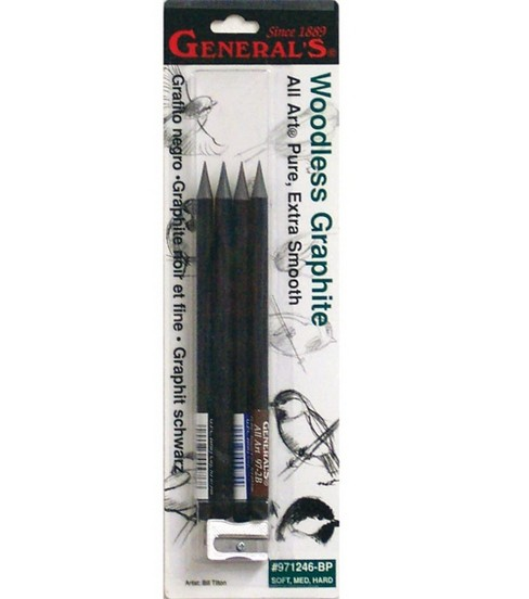 General Pencil Woodless Graphite Pencils & Sharpener-4 Pencils