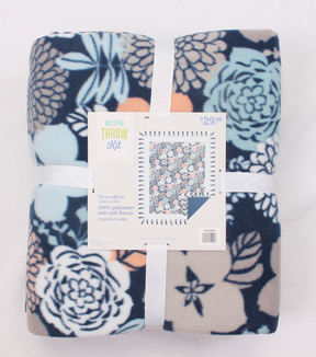 No-Sew Throw Fleece Fabric 72\u0022-Gray Coral Blue Floral