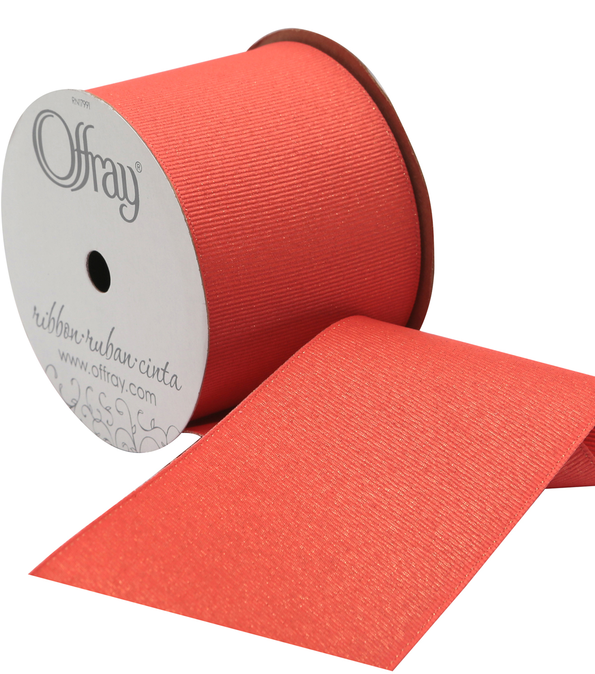 2 And One Qtr Grosgrain Glitz Coral Ribbon