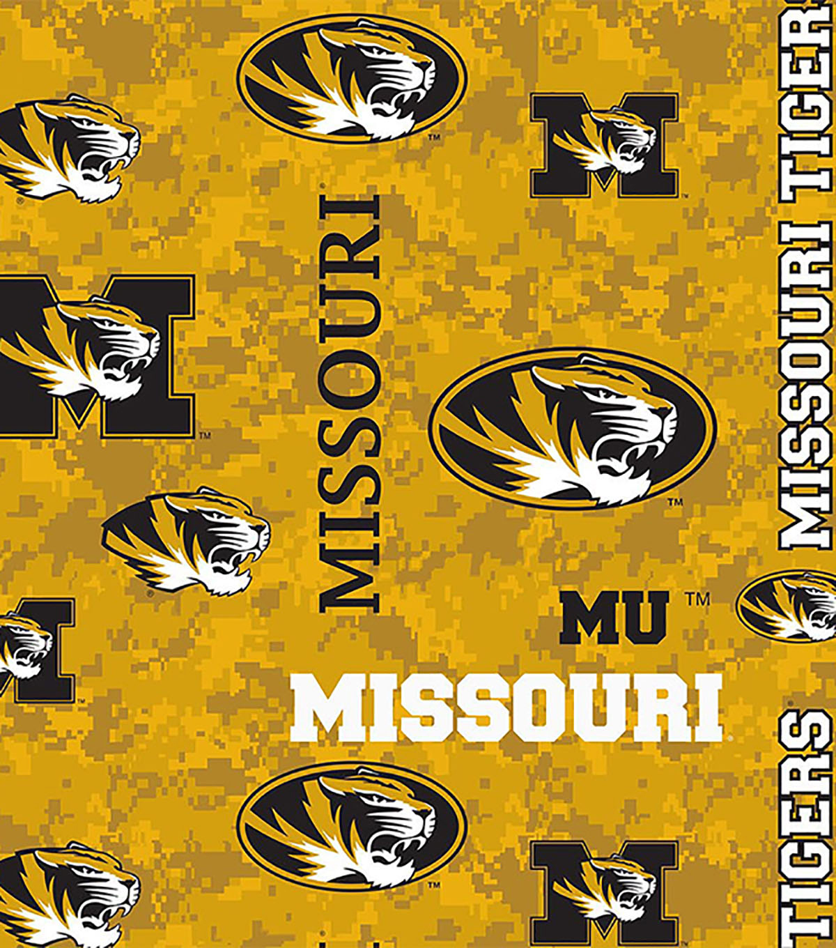 University of Missouri Tigers Fleece Fabric 60\u0022-Allover
