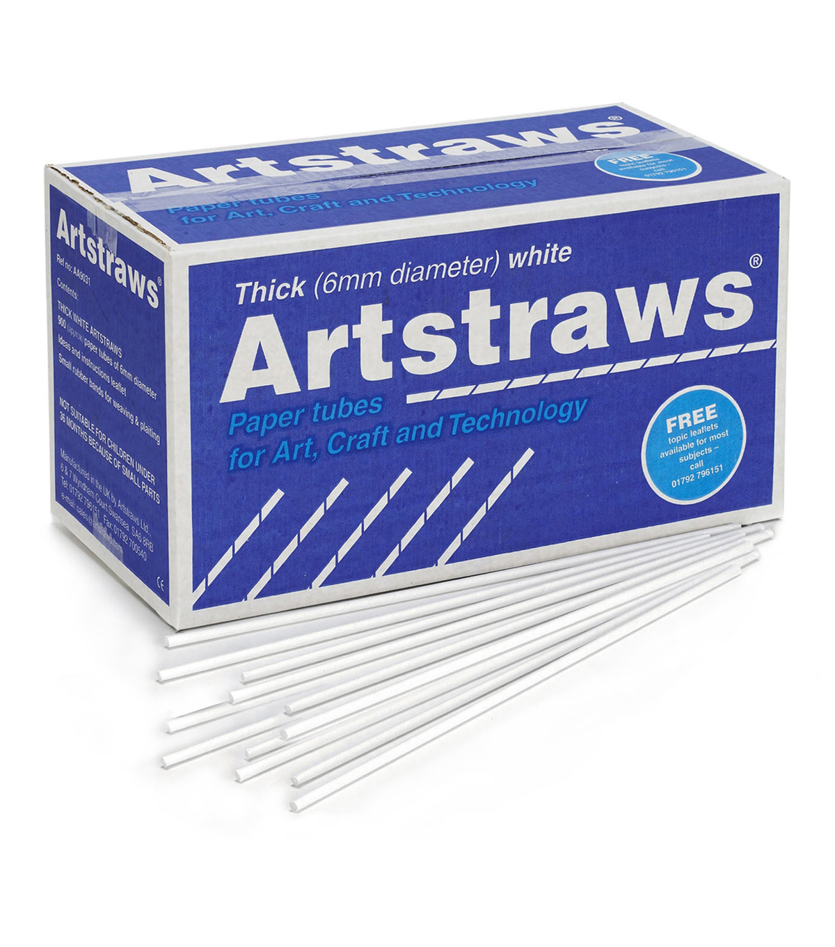 Artstraws Paper Tubes, Thick, White, 6 mm, 900 Pieces