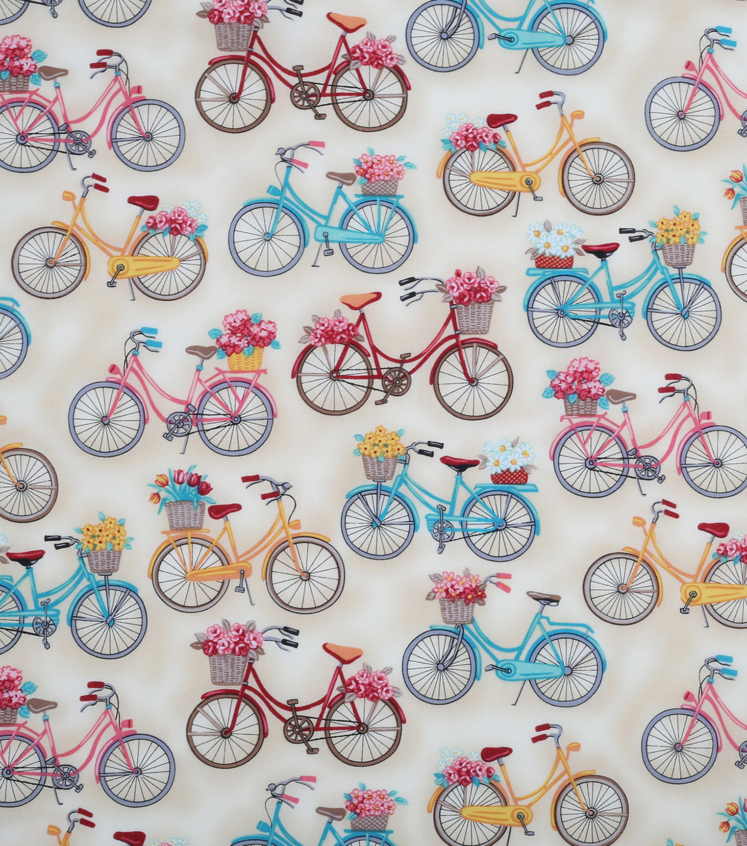 Novelty Quilt Fabric- Off White Bikes With Baskets | JOANN : joann quilting fabric - Adamdwight.com
