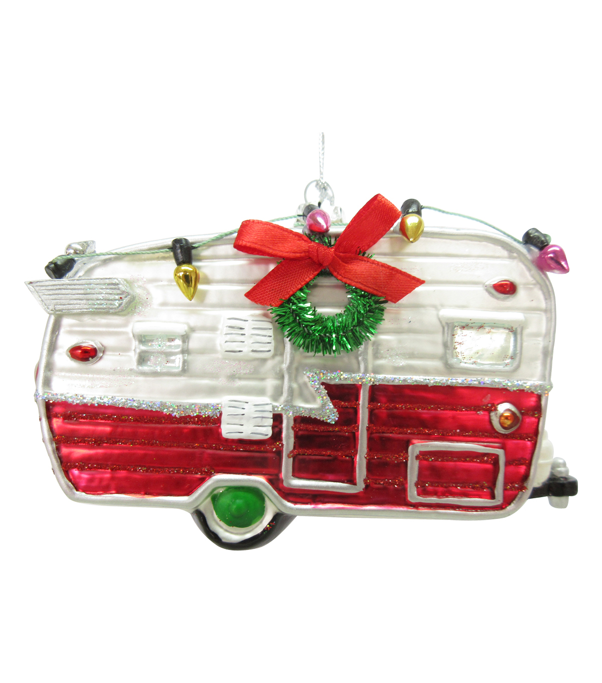 Maker\u0027s Holiday Christmas Glass Camping Car Ornament-Red & White