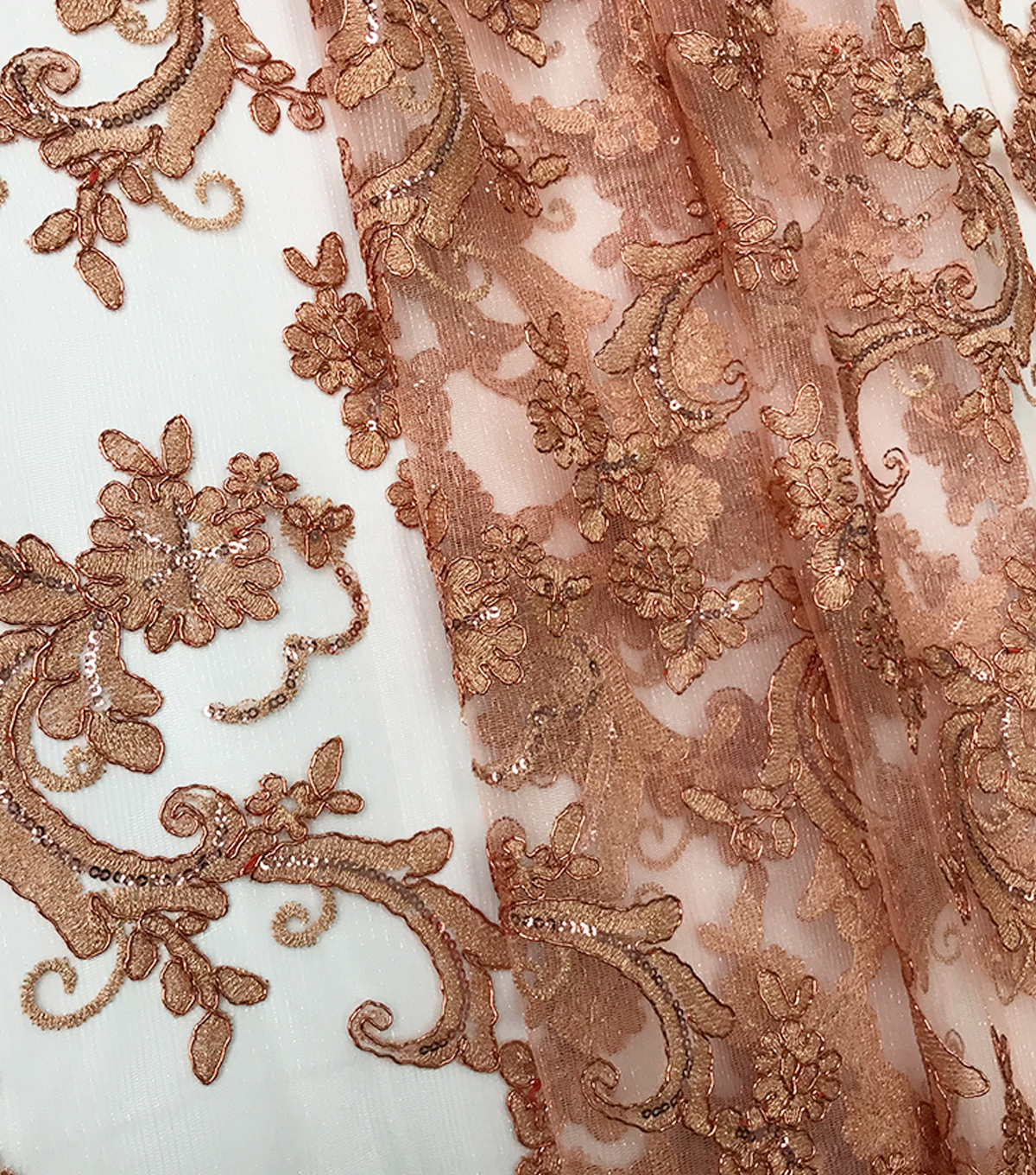 Quinceanera Floral Scroll On Mesh Fabric-Peachskin