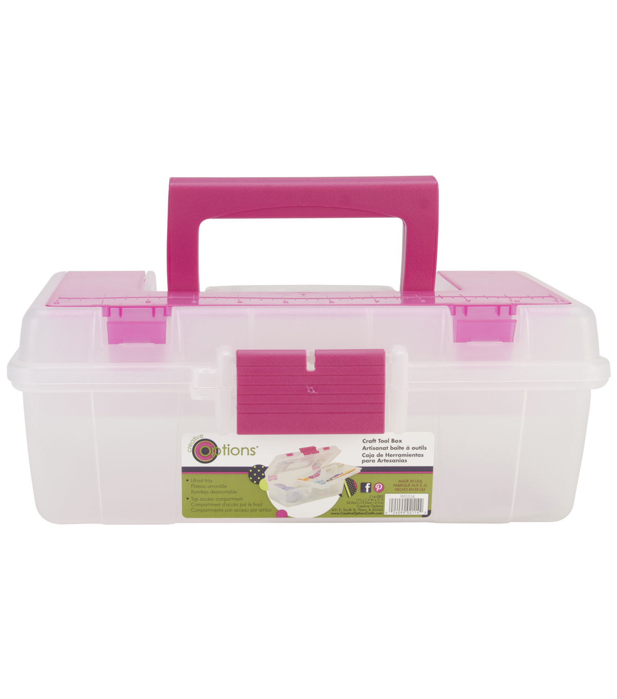 Creative Options Tool Box Organizer-Clear & Magenta