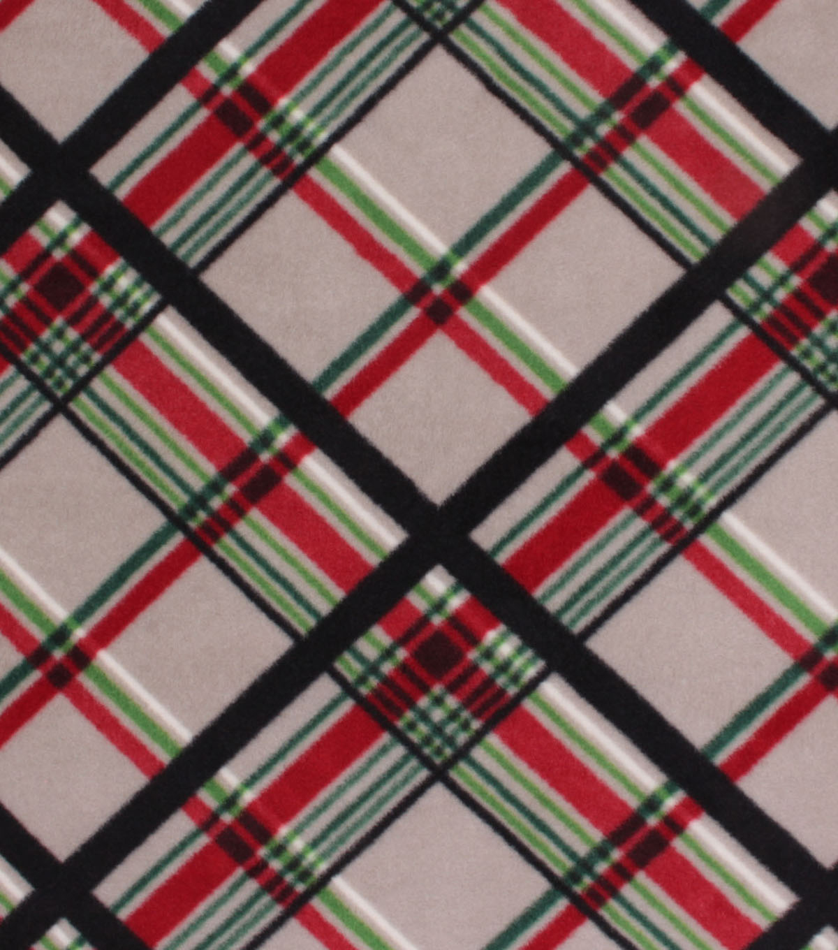 Anti-Pill Plush Fleece Fabric-Gray, Red and Green Plaid