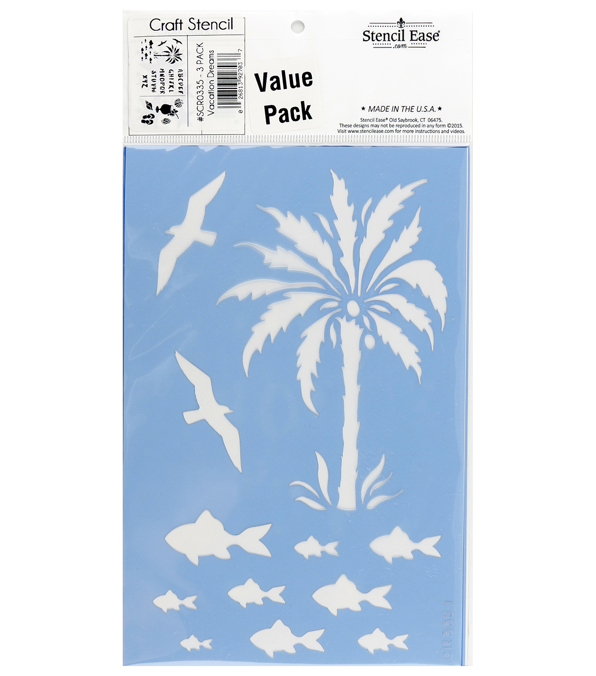 Stencil Ease 3 pk 5.85\u0027\u0027x9\u0027\u0027 Craft Stencils-Vacation Dreams
