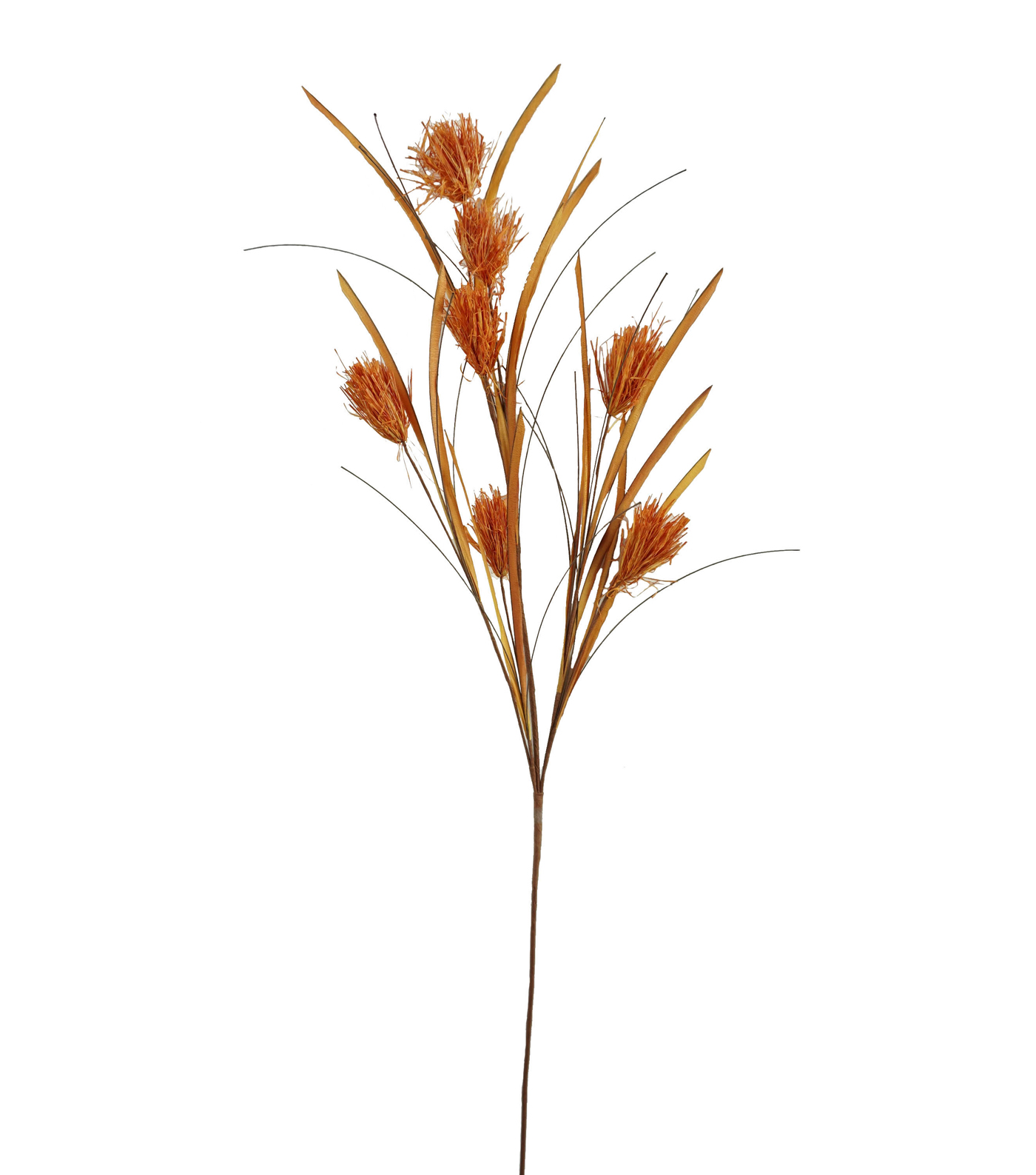 Blooming Autumn Raffia Grass Spray-Natural & Dark Orange