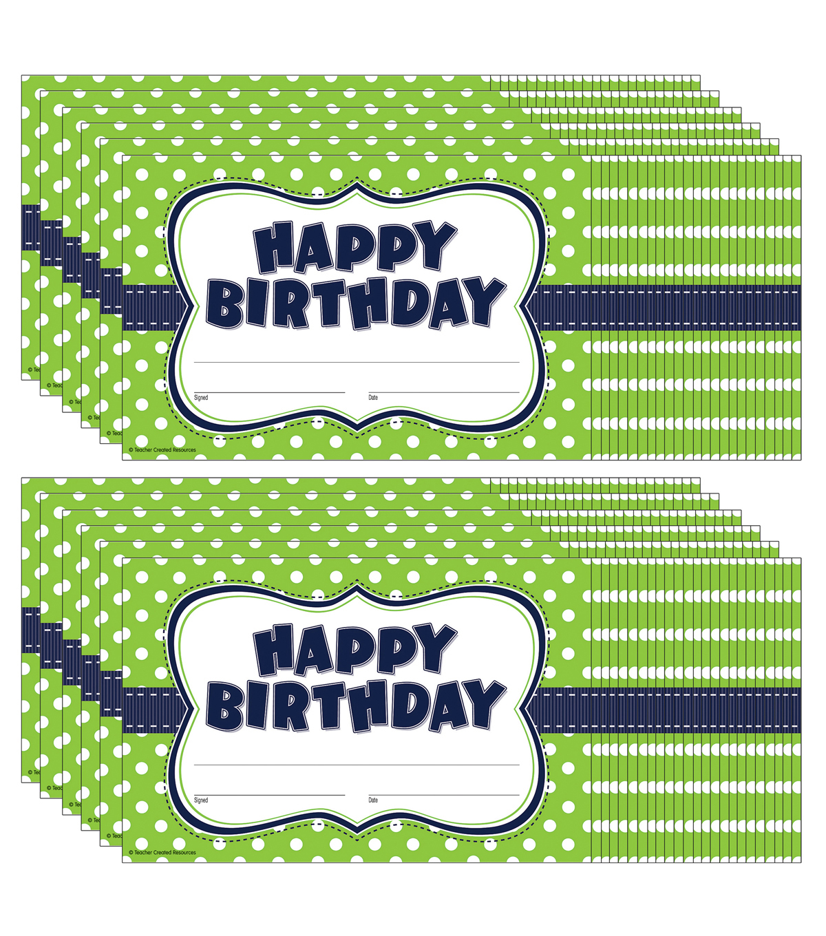 Teacher Created Resources Lime Polka Dots Happy Birthday Awards, 25/Pack