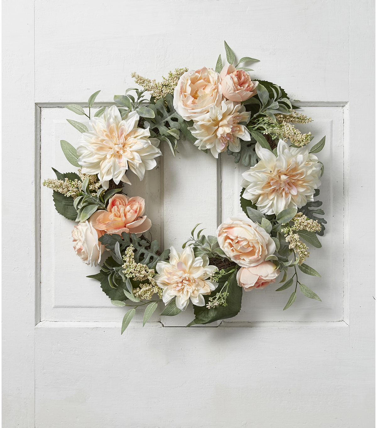 Fresh Picked Spring Dahlia, Rose & Leaves Wreath-Peach