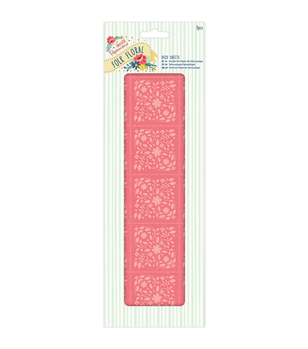 Papermania Folk Floral 3ct Deco Sheets-Coral Floral