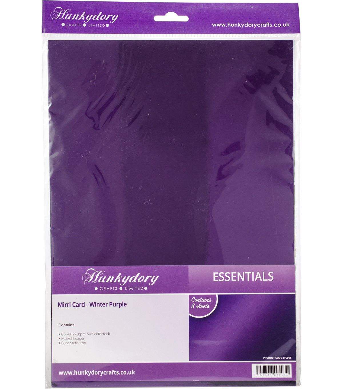 Hunkydory Mirri Super-Reflective A4 Cardstock 8/Pkg-Purple
