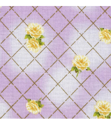 Keepsake Calico Cotton Fabric-Floral Purple w/Gold Metallic