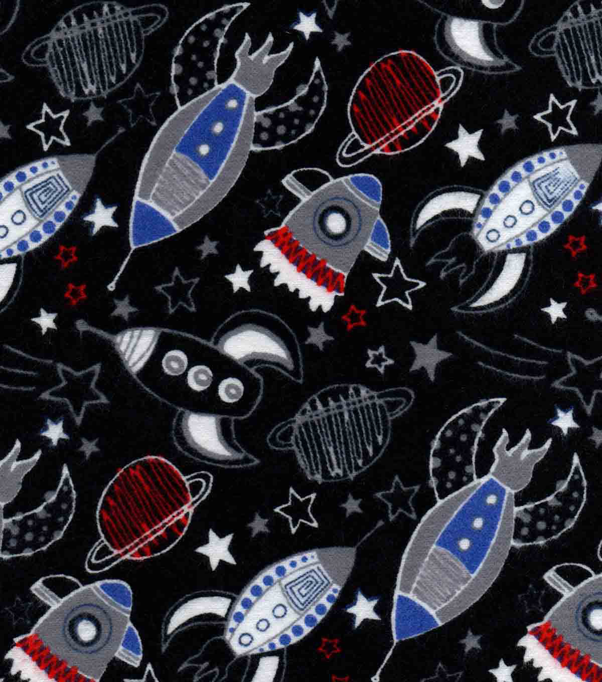 Snuggle Flannel Fabric -Space Ships in Space