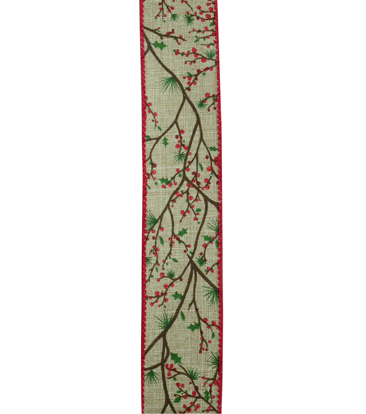 Maker\u0027s Holiday Ribbon 1.5\u0027\u0027x30\u0027-Branch with Berries on Natural