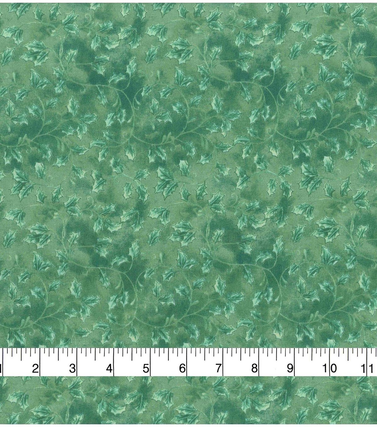 Christmas Cotton Fabric 43\u0022-Holly Scroll Green On Green
