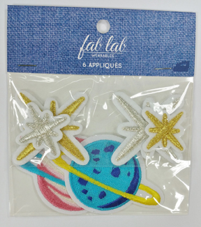 Fab Lab Wearables 6 pk Planet Iron-on Appliques