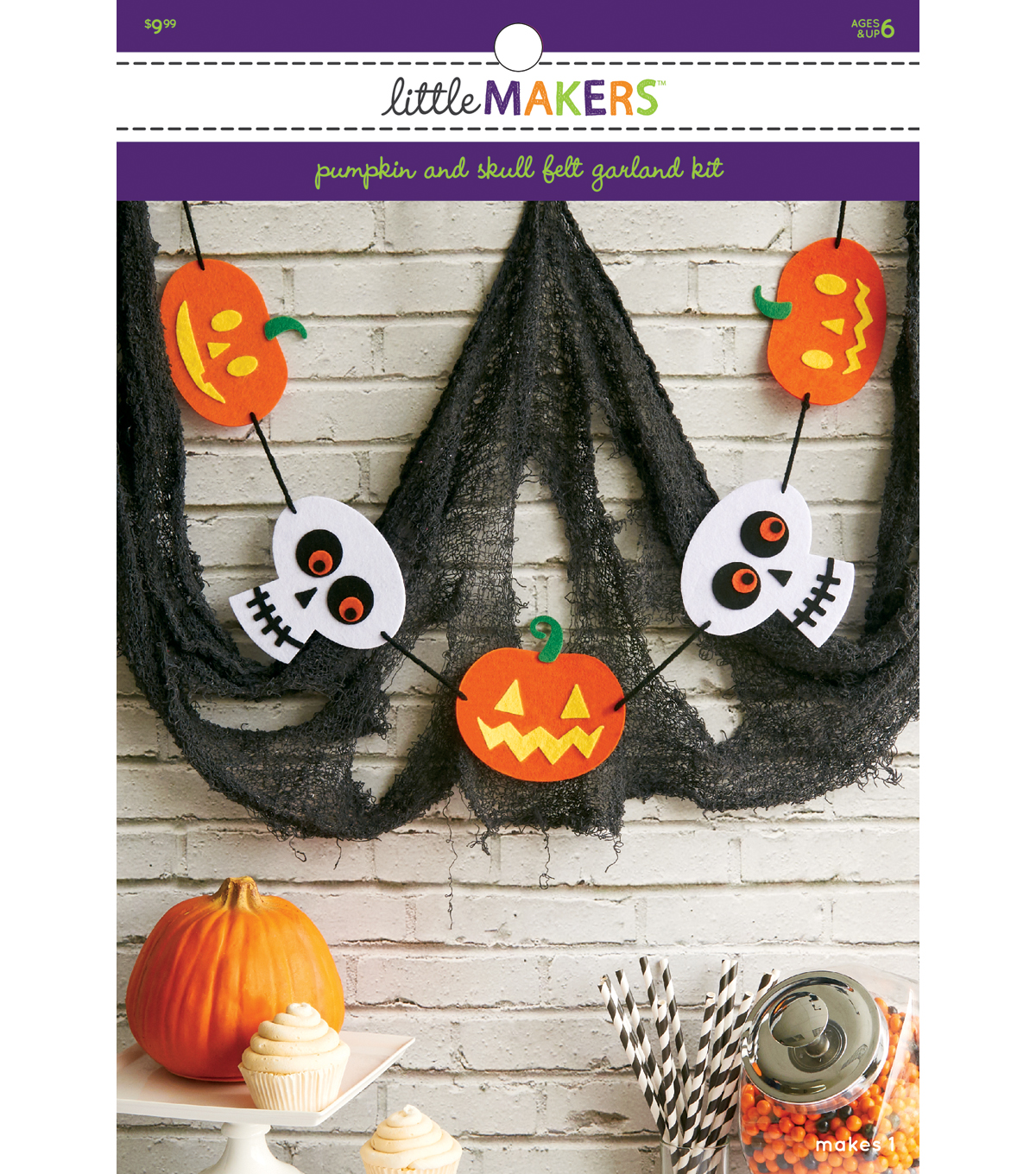 Little Makers Felt Garland Kit-Pumpkin and Skulls