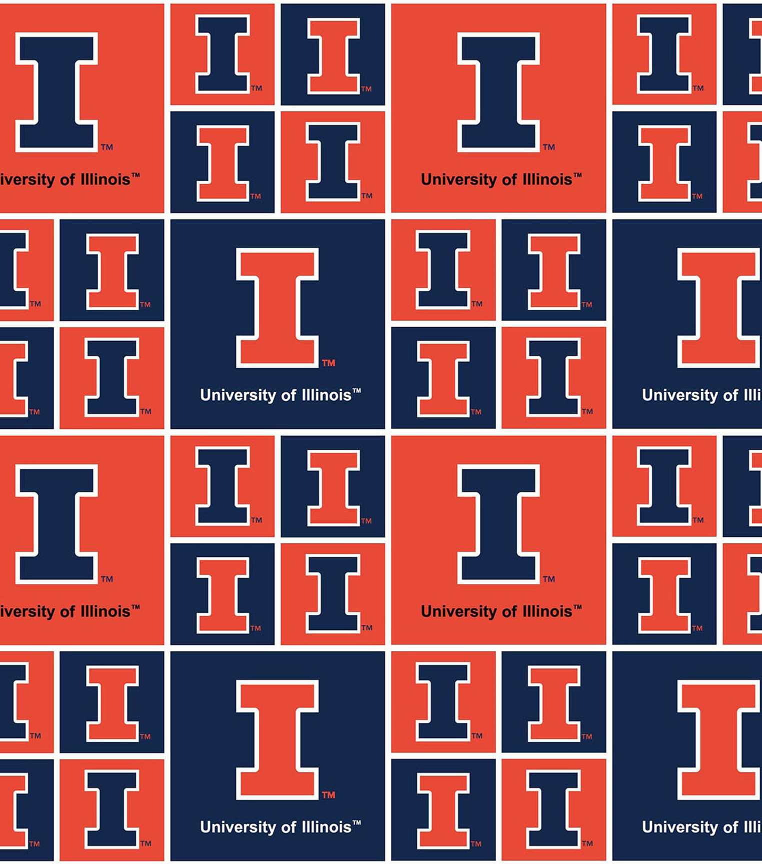 University of Illinois Fighting Illini Cotton Fabric -Block