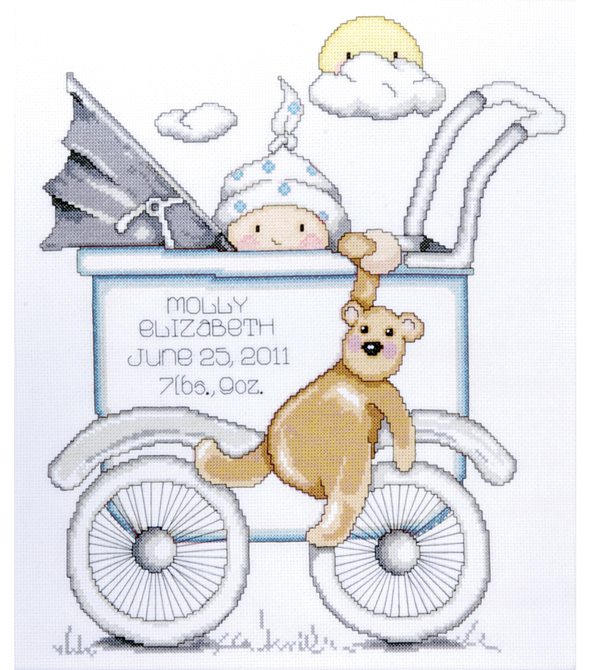 Tobin Baby Buggy Boy Birth Record Counted Cross Stitch Kit