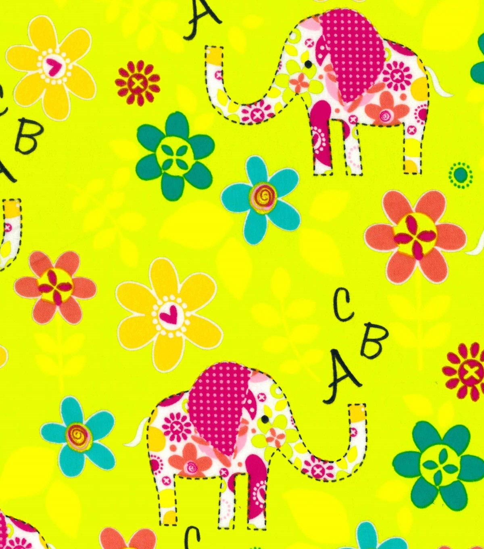 Nursery Cotton Fabric 44 U0022 Pink Elephant Patchwork