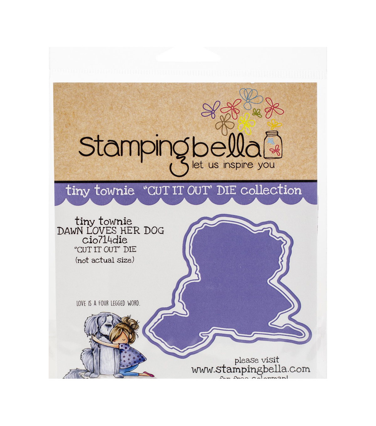 Stamping Bella 3.25\u0027\u0027x3\u0027\u0027 Cut it Out Die-Tiny Townie Dawn Loves Her Dog