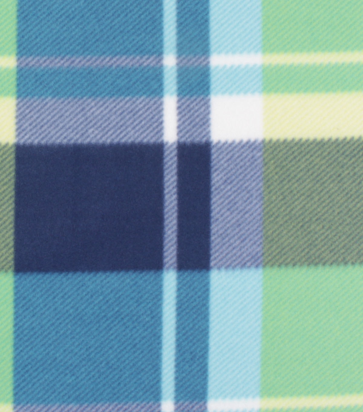 Blizzard Fleece Fabric-Bryce Lime & Blue Plaid