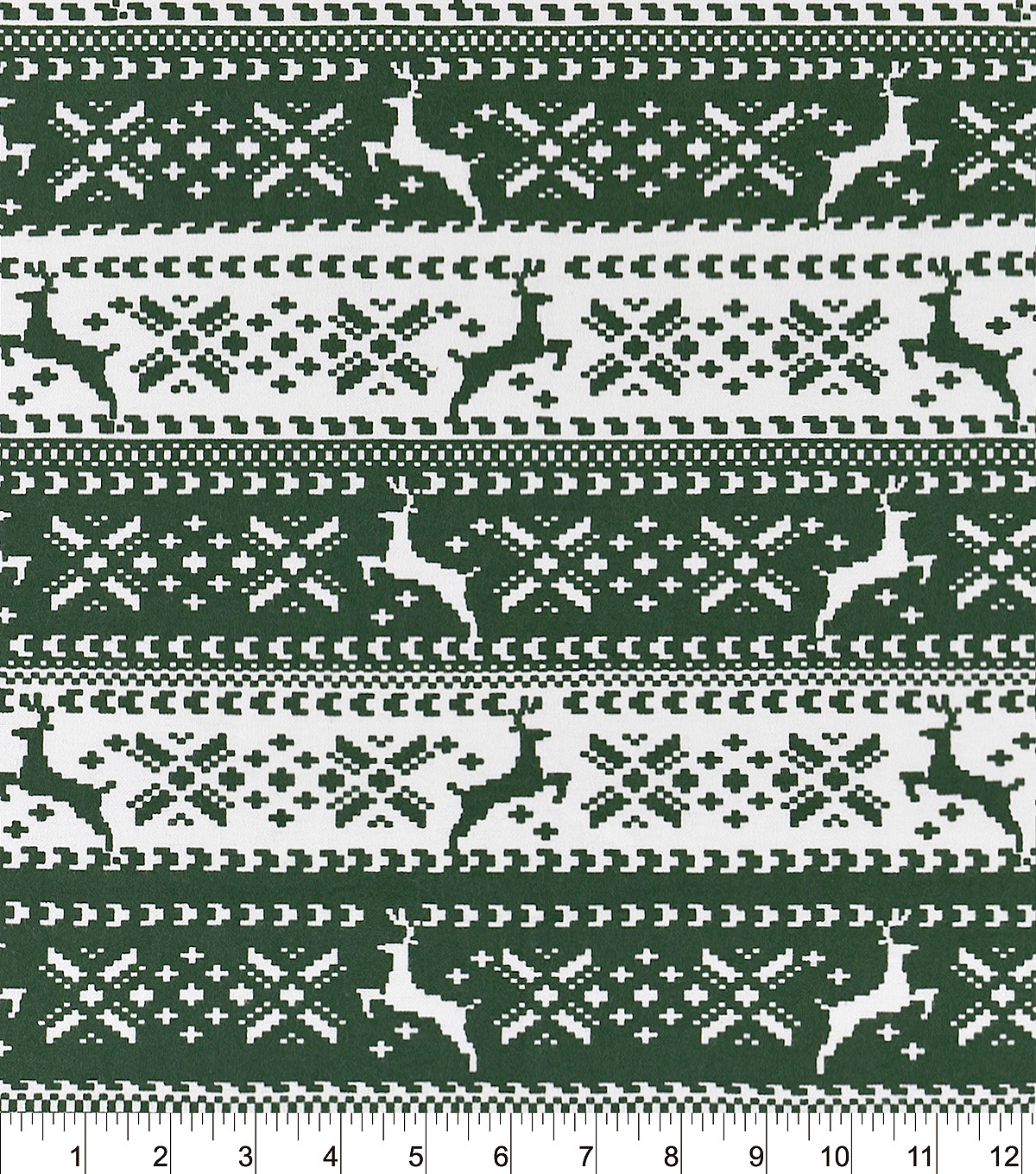 Snuggle Flannel Fabric -Green Nordic Reindeer