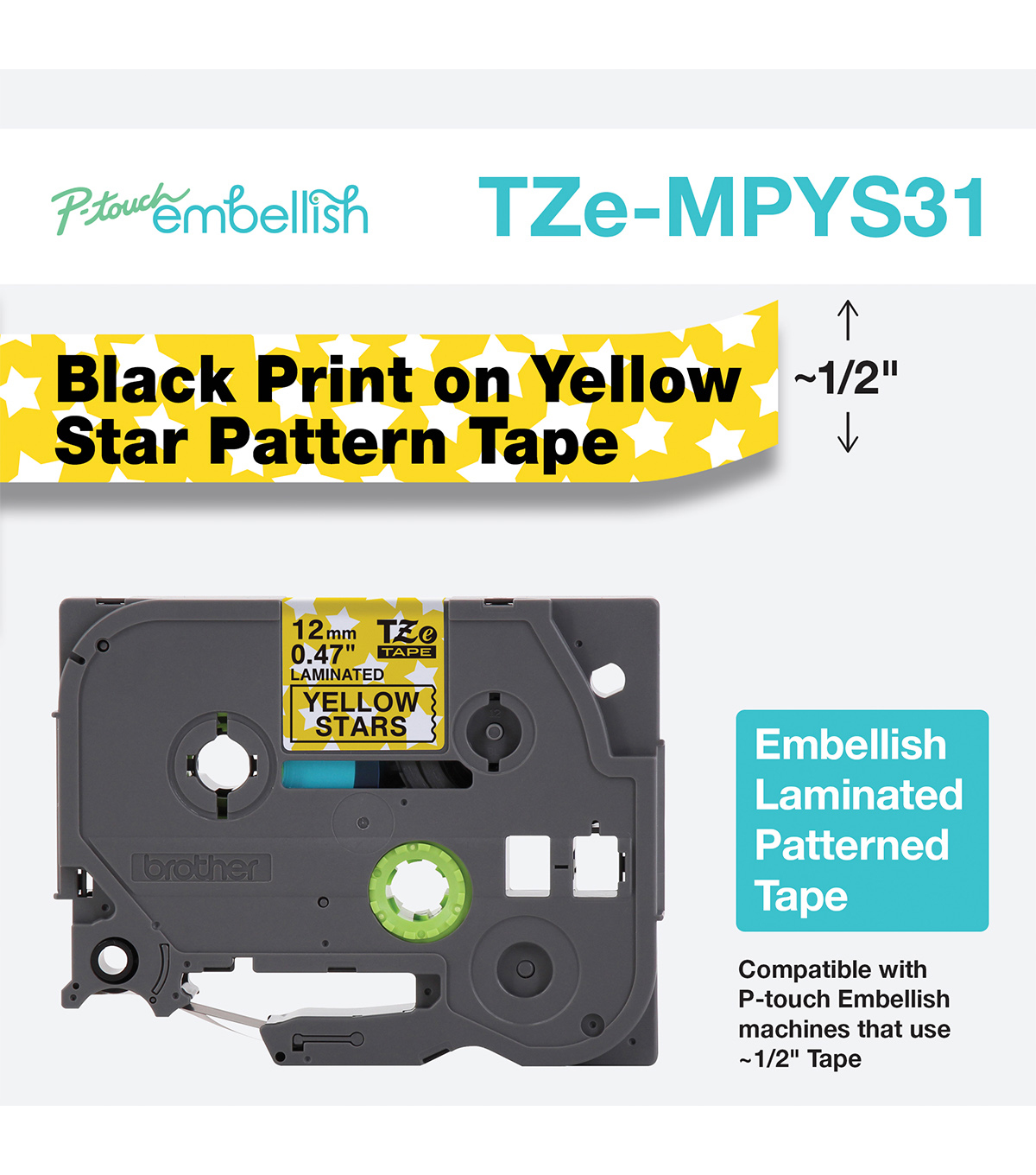 Brother P-touch Embellish Patterned Tape 0.47\u0027\u0027x13.1\u0027-Yellow with Stars