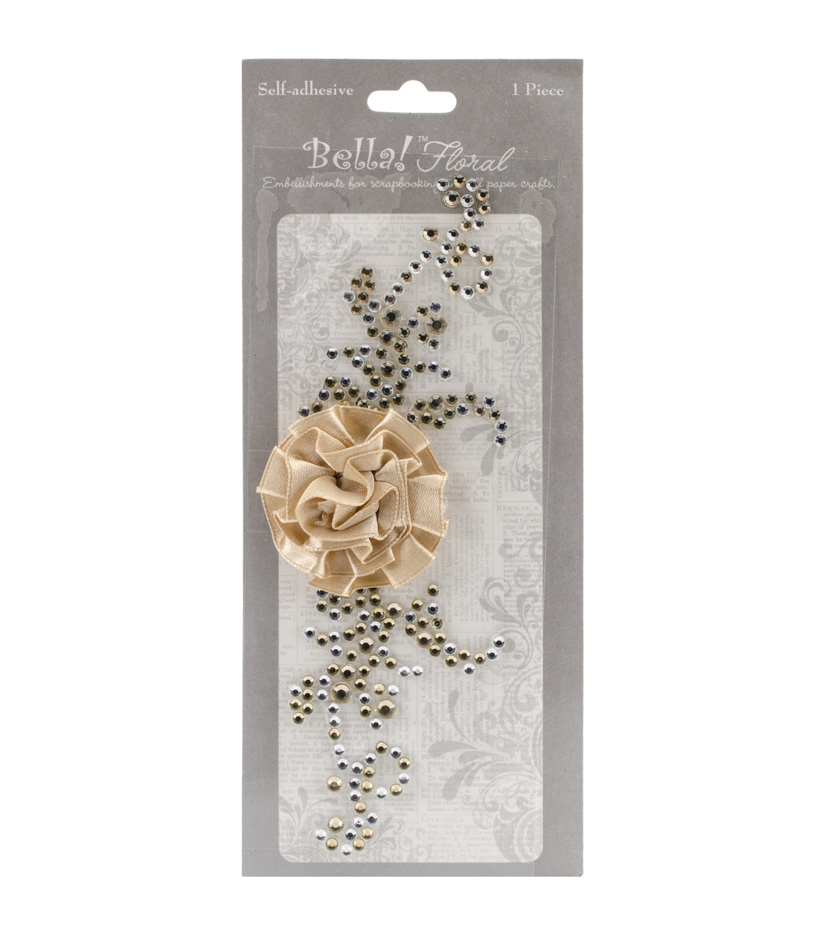 Ruby Rock It Bella! Bling & Fabric Floral Trim Embellishments, Gold