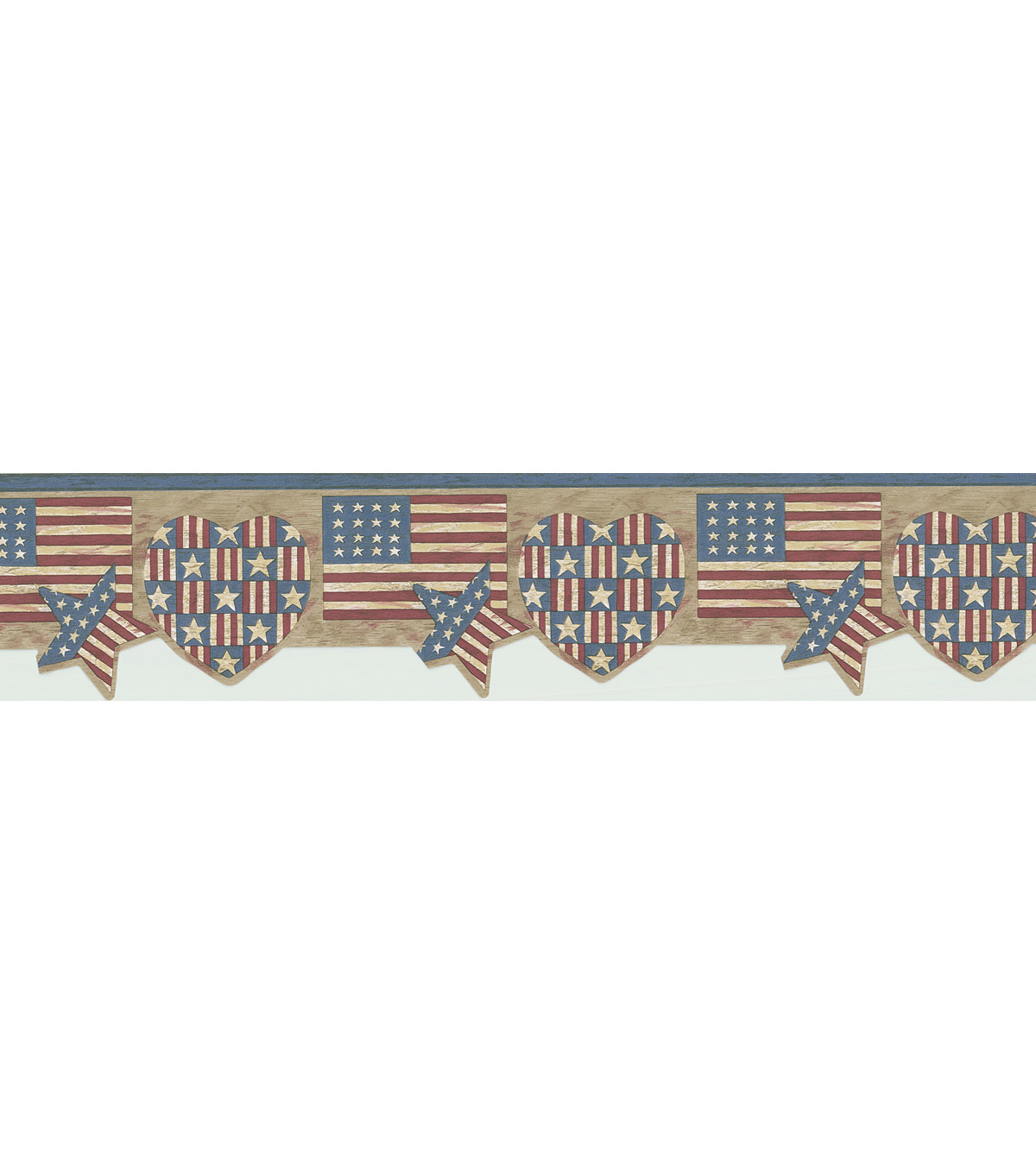 American Flag Shapes Wallpaper Border, Multicolor