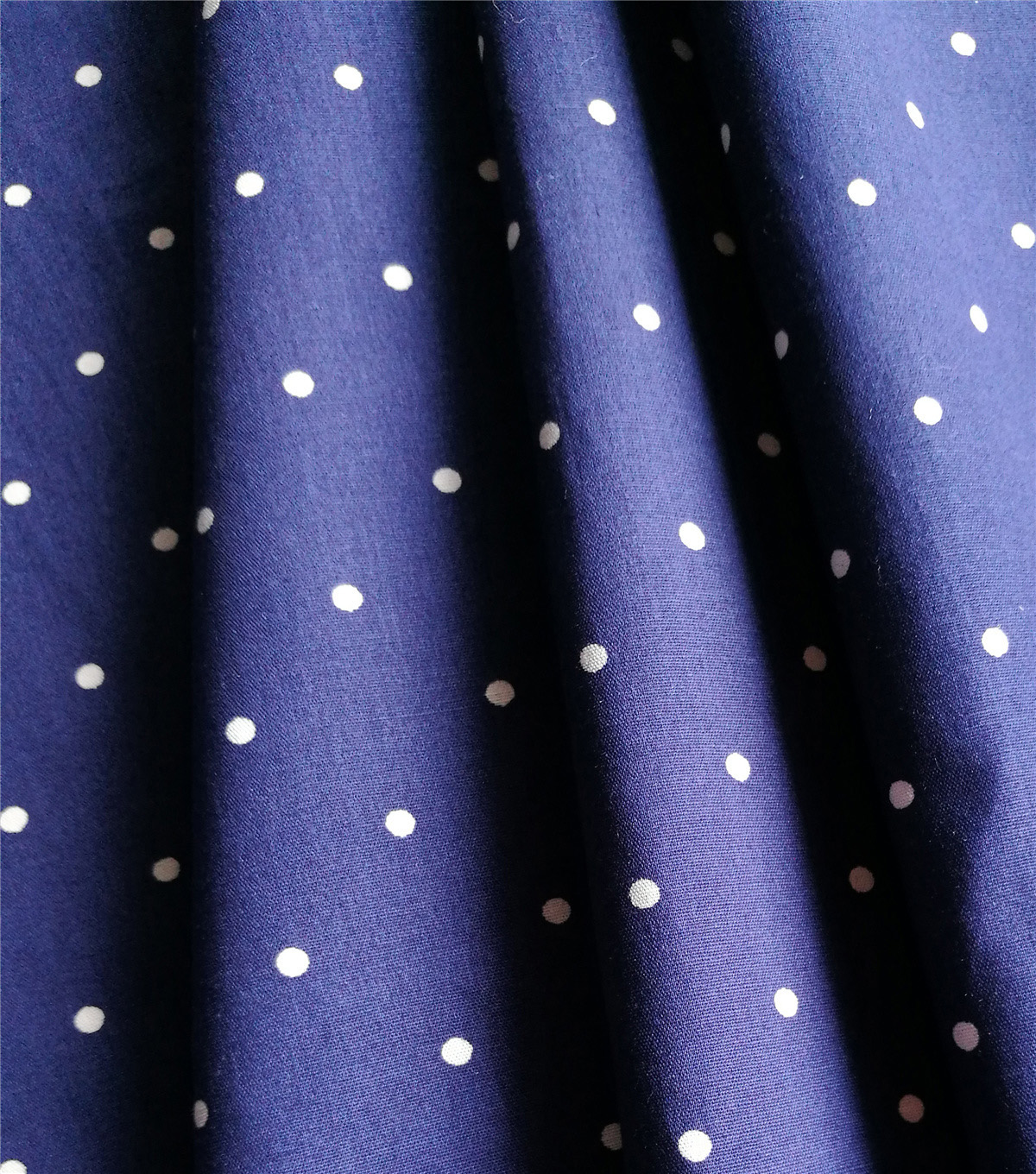 Cotton Shirting Fabric 57\u0027\u0027-White Dots on Navy