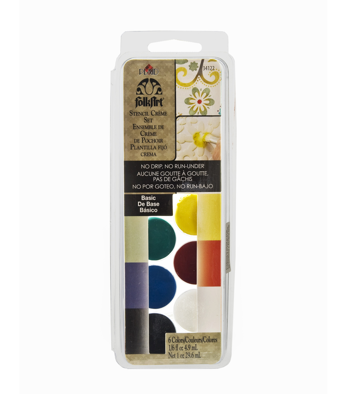 FolkArt Dry Brush Stencil Creme Set-Basic