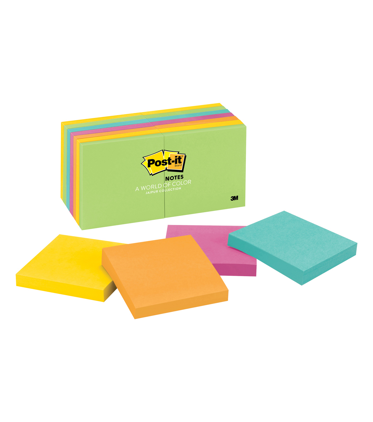Post-it Notes, 3 in x 3 in, Jaipur Collection, 14 Pads