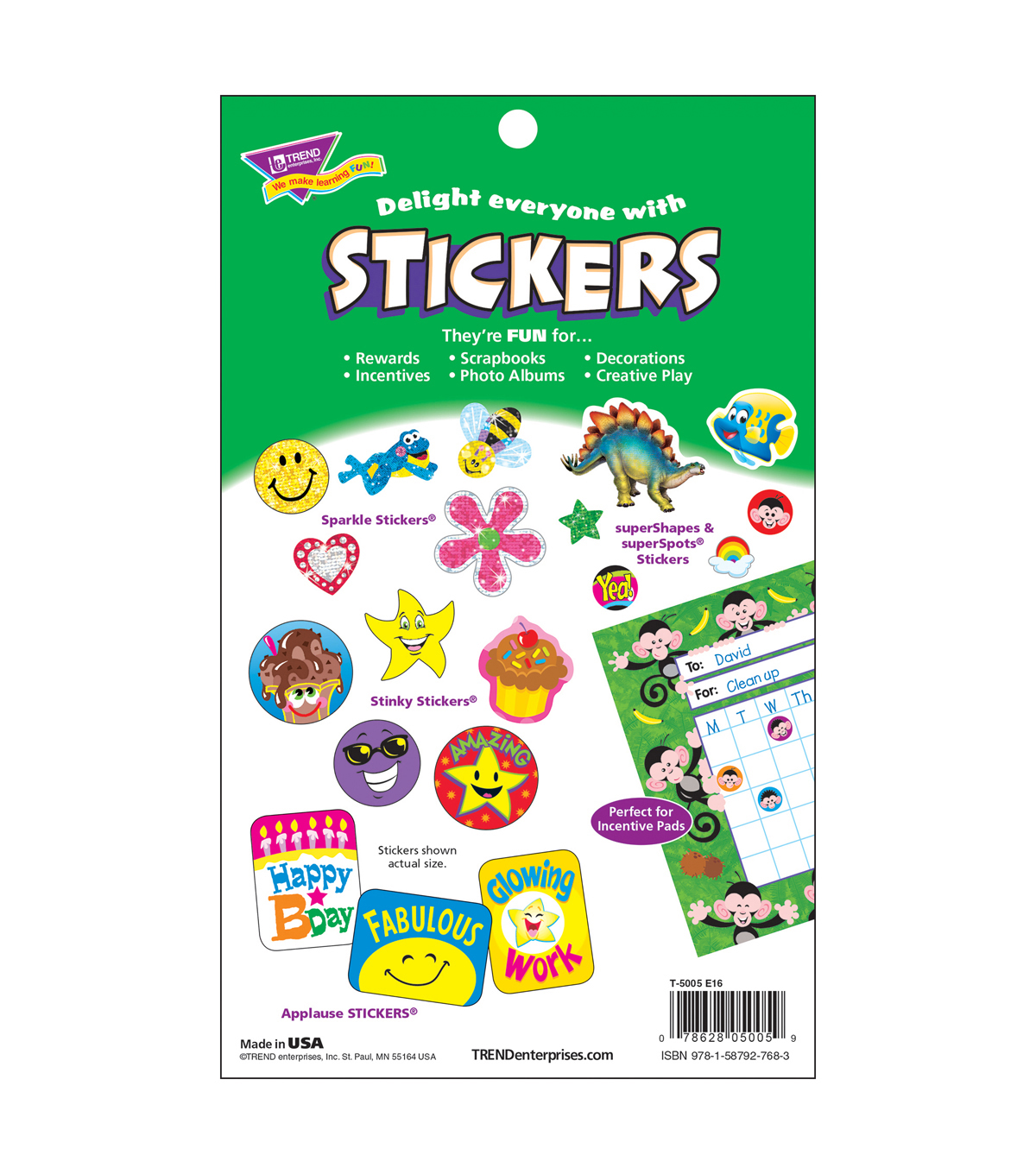 Sparkly Stars, Hearts, & Smiles Sticker Pad 336 Per Pad, 6 Pads