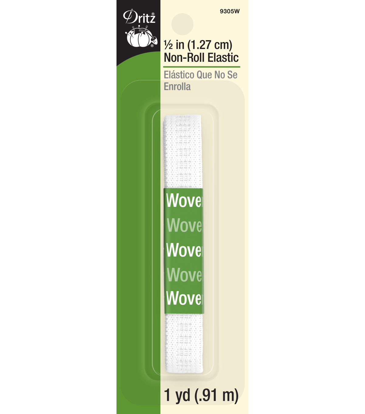 1/2in Non Roll Elastic 1yd Wht