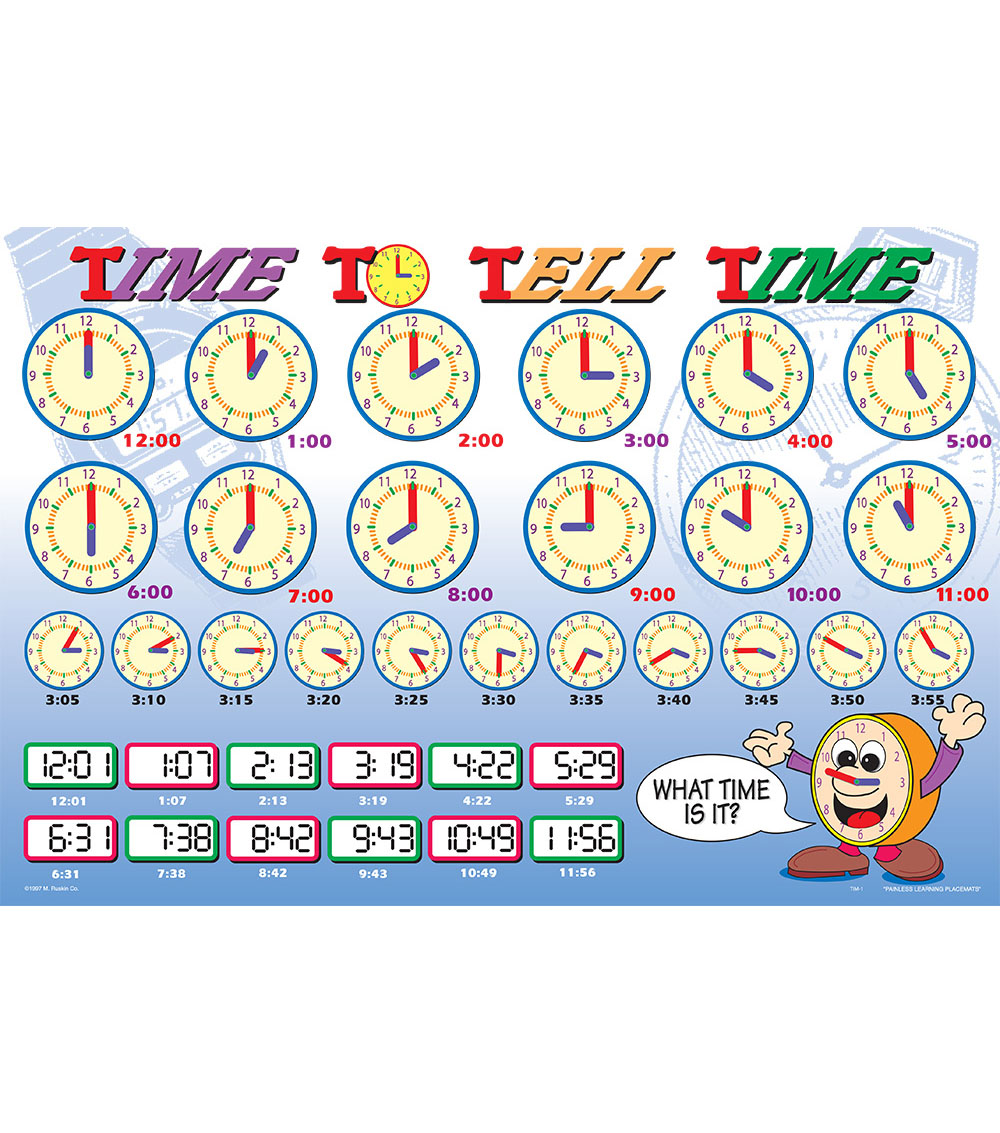 Painless Learning Laminated Placemat-Time To Tell