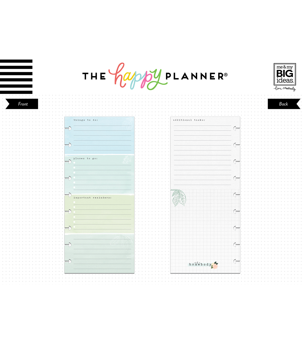 The Happy Planner Girl Classic Half Sheet Paper-Homebody To Do
