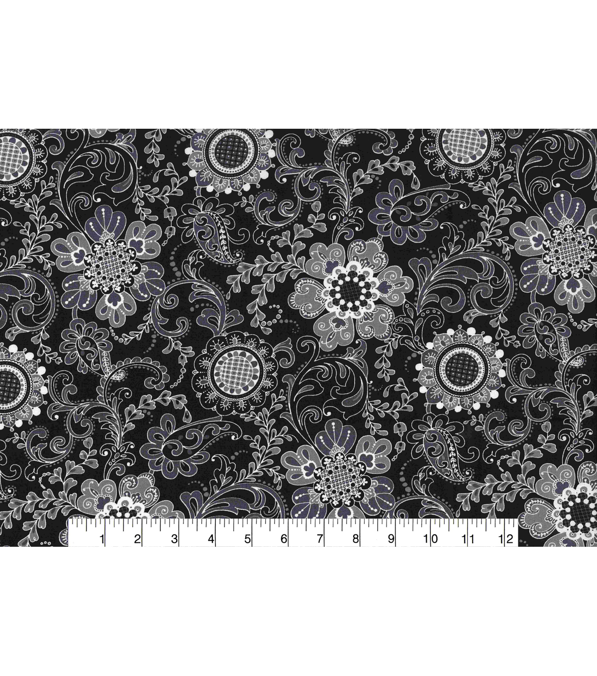 Keepsake Calico Cotton Fabric -Floral Medallion Gray