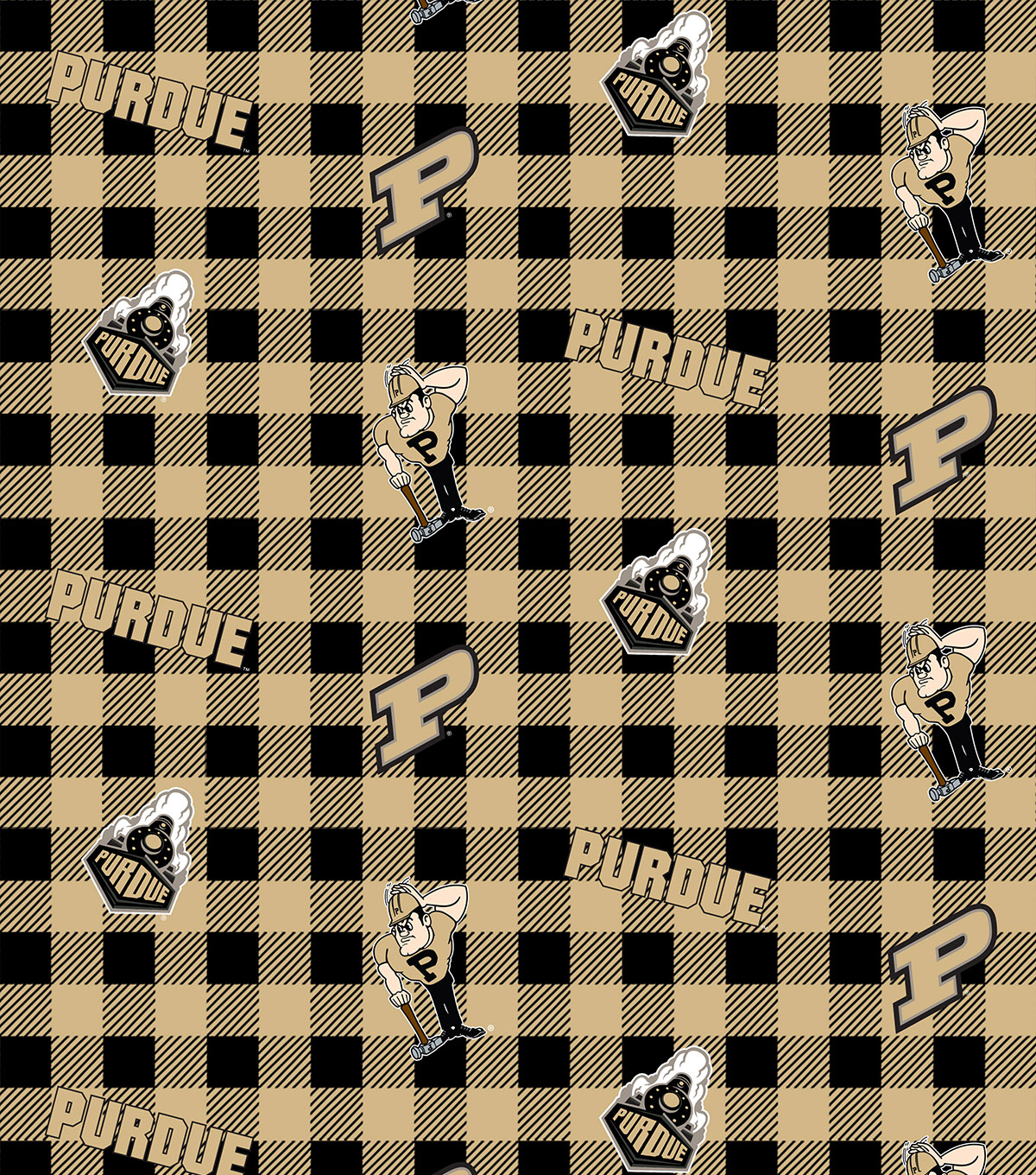 Perdue University Boilermakers Cotton Fabric-Buffalo Plaid