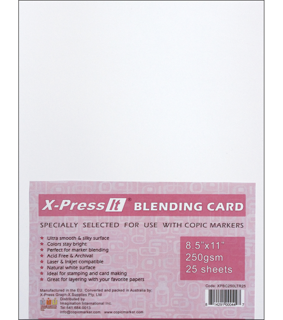 Copic X-Press Blending Card 8.5\u0022X11\u0022 25 Sheets-White