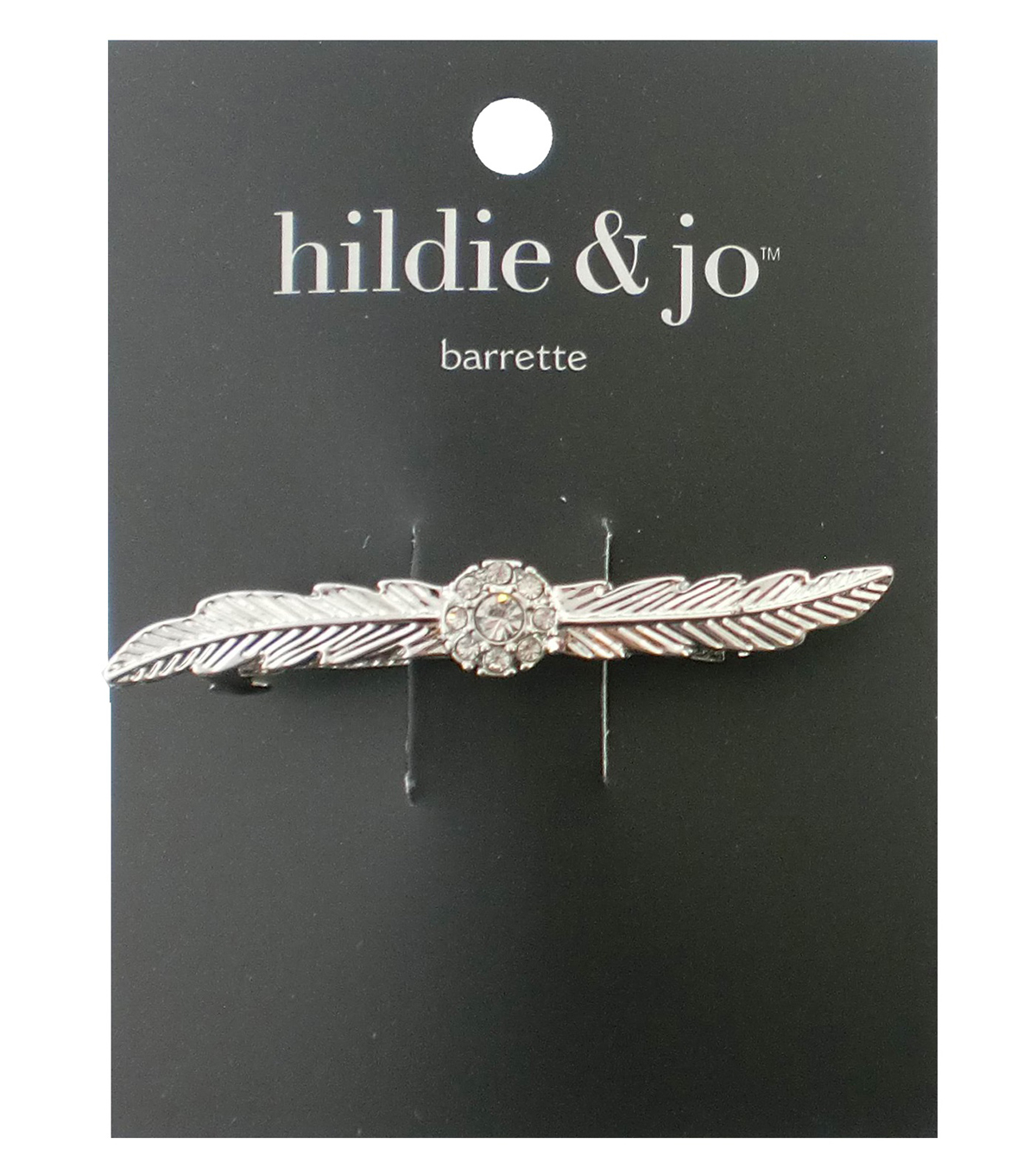 hildie & jo Leaves Gold Barrette-Clear Crystals